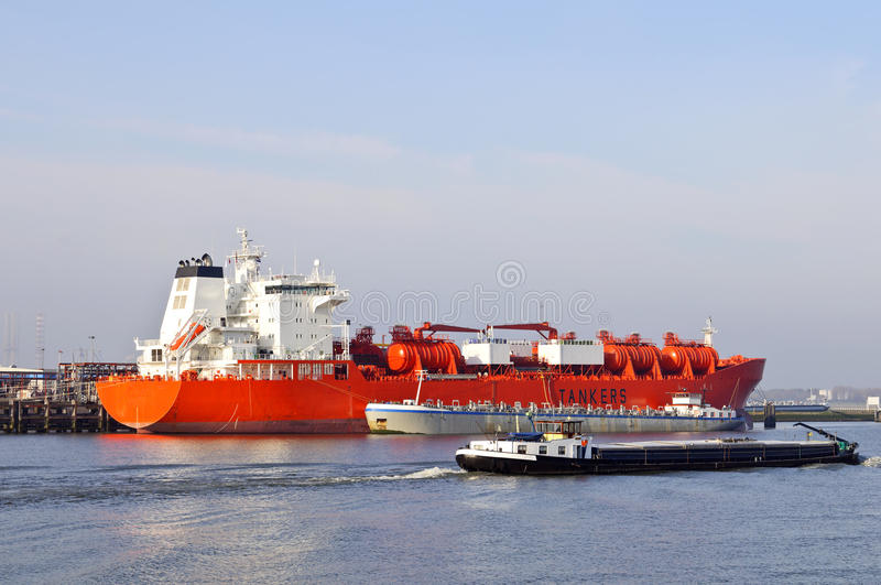 Oil tanker in the harbor royalty free stock photography