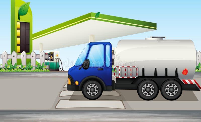 An oil tanker near a gasoline station vector illustration