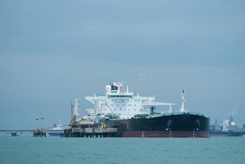 Oil-tanker at an offshore terminal