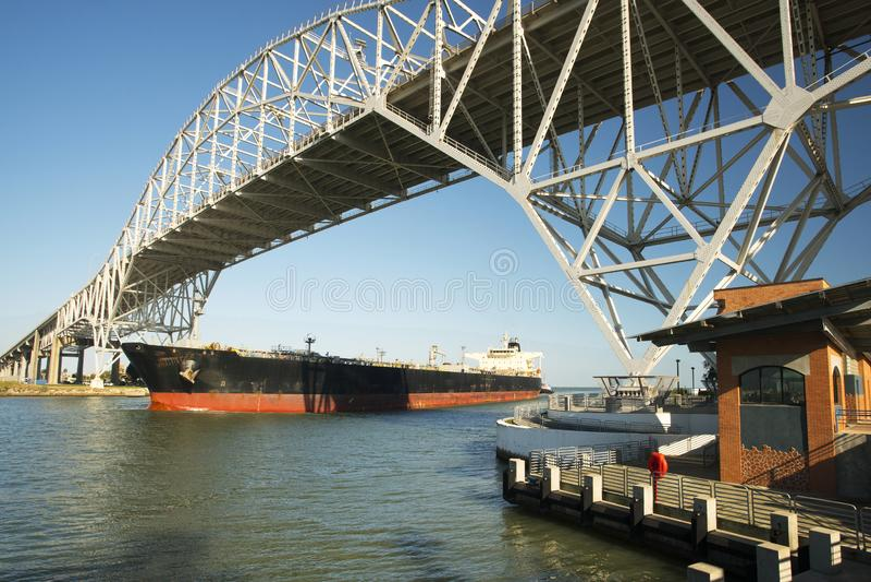 Oil Tanker Passing Under the Corpus Christi Harbor Bridge stock photos