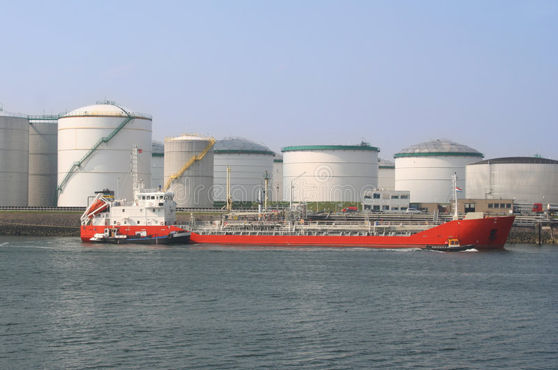 Oil Tanker and Silos stock photography