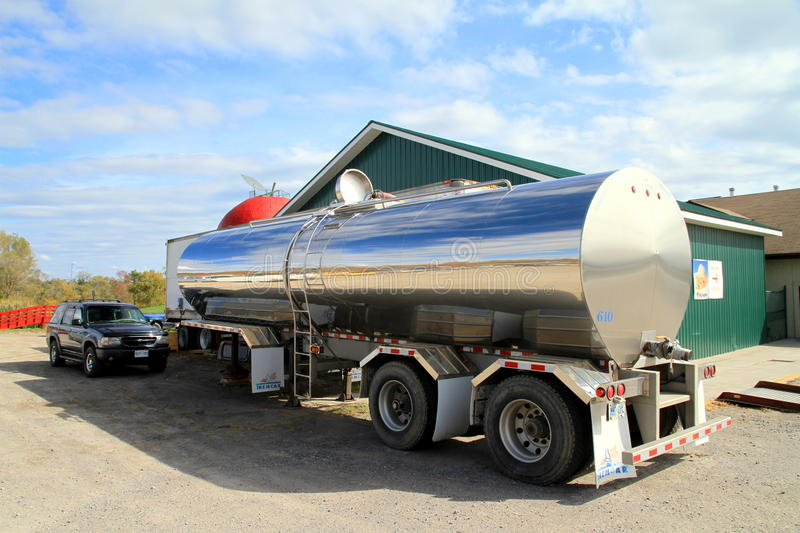 Oil Tanker Truck. An oil tanker truck parked outside a factory stock photos
