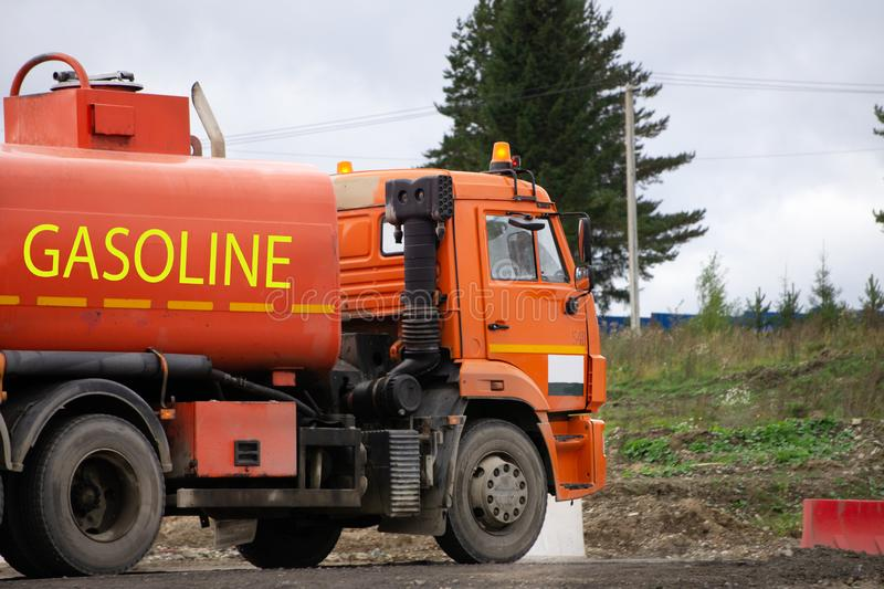 Oil tanker truck and petrochemical industry estate.  stock photos