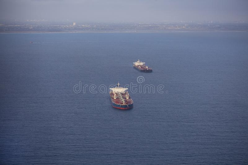 Oil tankers at sea royalty free stock photo