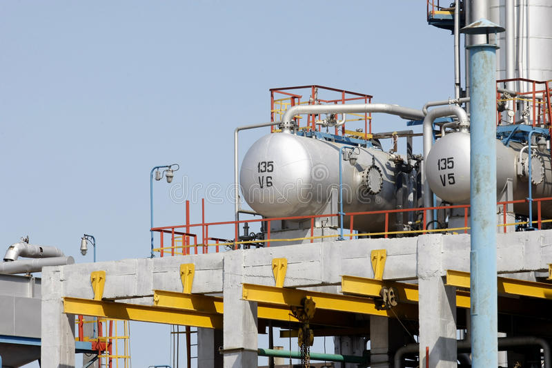 Oil tanks in a refinery stock photos