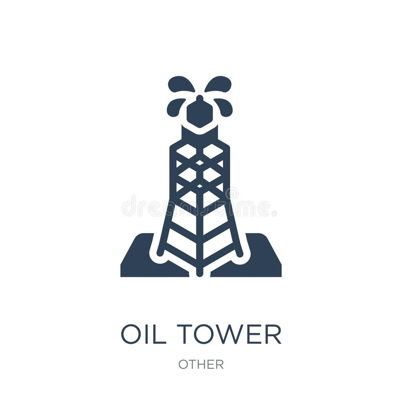 oil tower icon in trendy design style. oil tower icon isolated on white background. oil tower vector icon simple and modern flat royalty free illustration