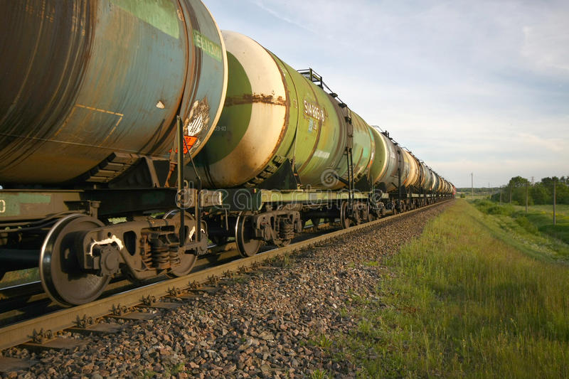 Oil transportation by rail stock image