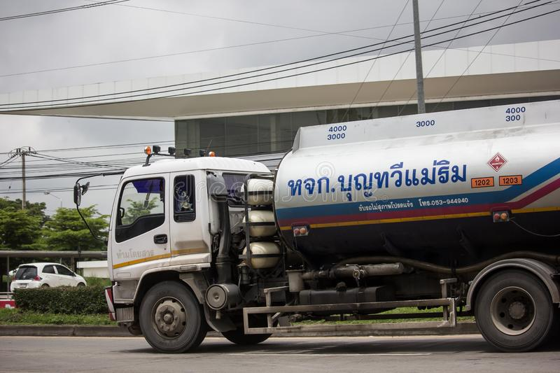 Oil Truck of Boon ThaWee Maeram Oil transport Company. Chiangmai, Thailand - August 16 2019: Oil Truck of Boon ThaWee Maeram Oil transport Company. On Truck on royalty free stock photos
