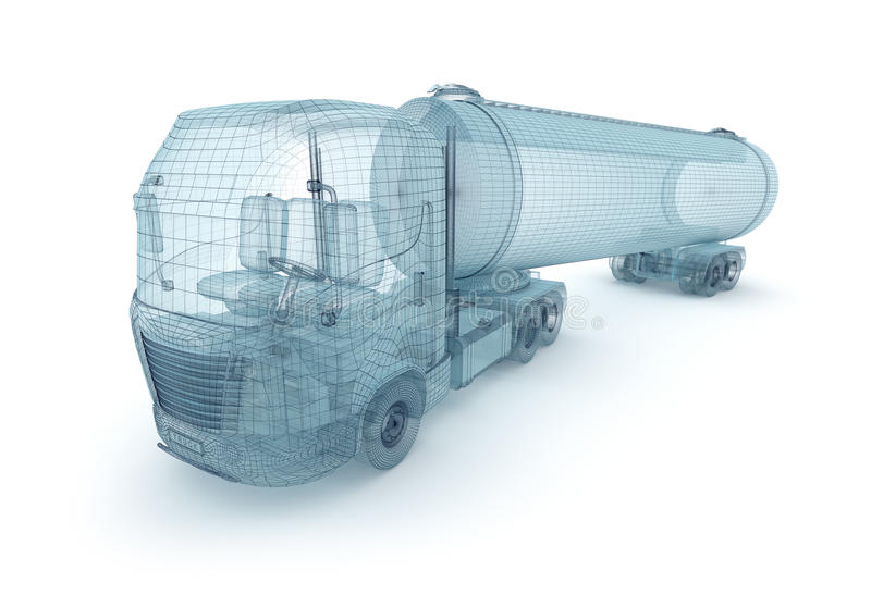 Oil truck with cargo container, wire model. My own design stock illustration