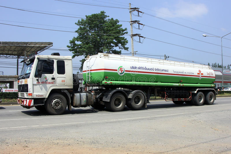 Oil truck. CHIANGMAI, THAILAND - OCTOBER 7 2014: Oil Truck of PTG Energy Oil transport Company. Photo at road no.121 about 8 km from downtown Chiangmai, thailand stock image