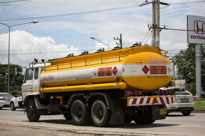 Oil Truck of A Class Oil transport Company. Chiangmai, Thailand - August 22 2019:  Oil Truck of A Class Oil transport Company. Photo at road no.1001 about 8 km stock photos