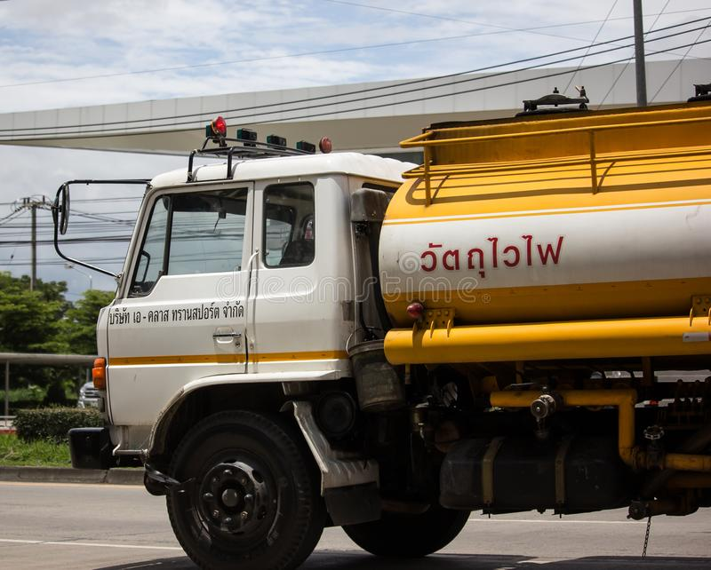 Oil Truck of A Class Oil transport Company. Chiangmai, Thailand - August 22 2019:  Oil Truck of A Class Oil transport Company. Photo at road no.1001 about 8 km stock image