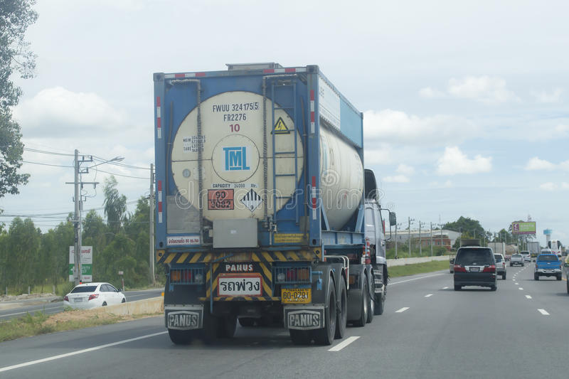 Oil truck container of tml group Logistics company. Bangkok,Thailand ,September 3, 2015 Oil truck container of tml group Logistics company Bangkok province in stock photography