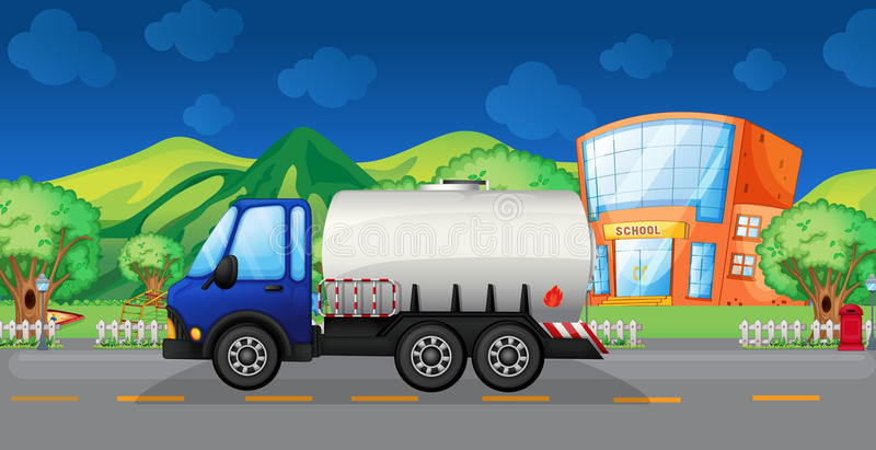 Download An Oil Truck Passing A School Stock Vector - Illustration of gasoline, lorry: 33689537