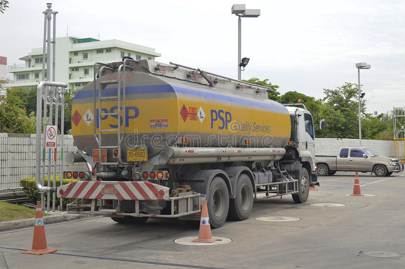 Oil Truck. Of PSP Energy Oil transport Company. thailand stock images