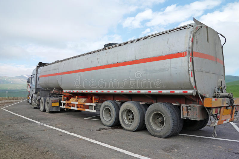 Oil truck. On the road stock photos