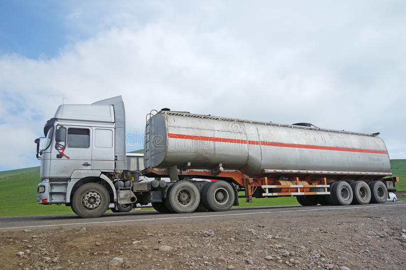Oil truck. On the road royalty free stock image