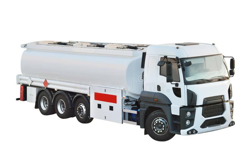Oil truck tanker with clipping path. On white stock photos