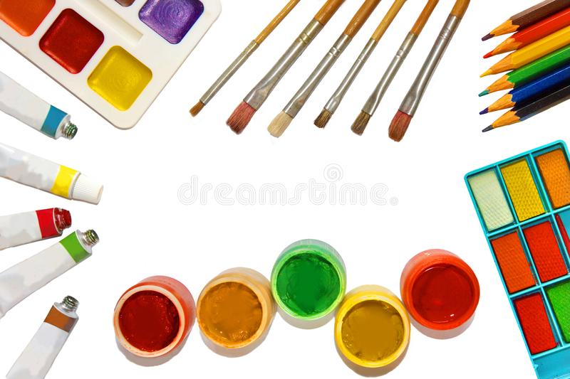 Oil, watercolor, gouache paints, goods for drawing royalty free stock photography