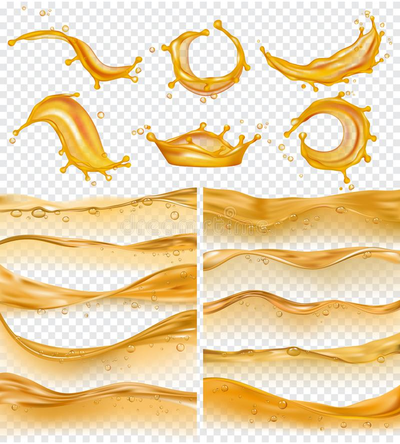 Oil waves. Realistic golden liquid surface of oil petrol flow drops and splashes fuel vector collection. Olive oil and fuel golden color flow illustration vector illustration