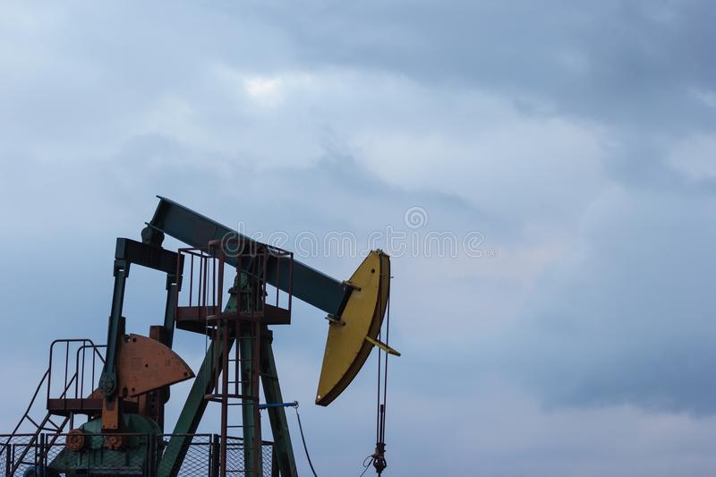 An oil well pump in the Đeletovci, Croatia. Pumpjack.CR2 stock image