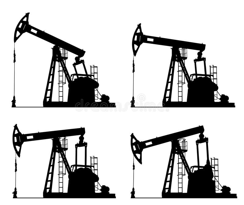 Oil well pump jack silhouette royalty free illustration