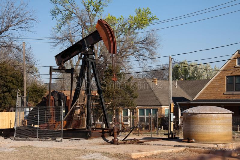 Oil Well Pumping Unit in Oklahoma City, Oklahoma stock images