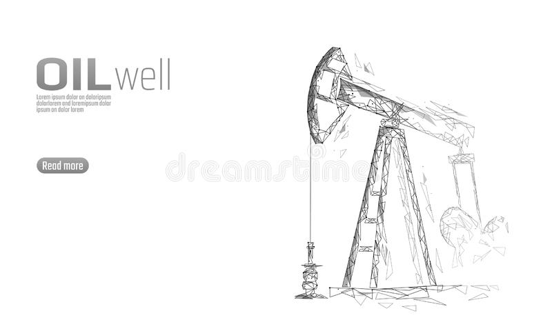 Oil well rig juck low poly business concept. Finance economy polygonal petrol production. Petroleum fuel industry stock illustration