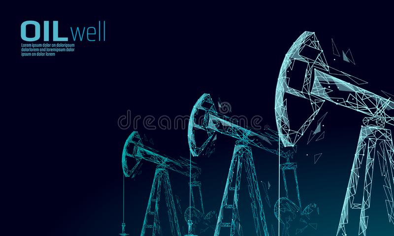 Oil well rig juck low poly business concept. Finance economy polygonal petrol production. Petroleum fuel industry royalty free illustration