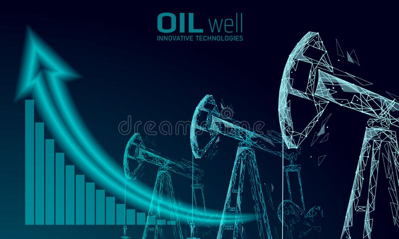 Oil well rig juck low poly business concept. Finance economy polygonal petrol production. Petroleum fuel industry vector illustration