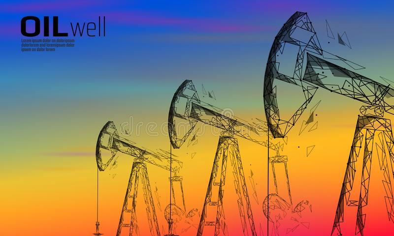 Oil well rig juck low poly business concept. Finance economy sunset sky petrol production. Petroleum fuel industry royalty free illustration