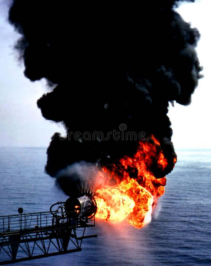 Oil Well Testing Flare Off Program. stock photo