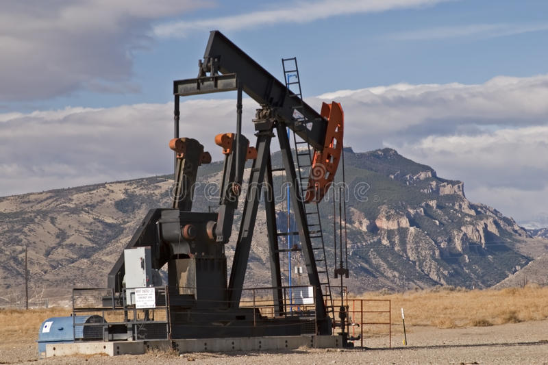 Oil natural gas well mountains stock photo