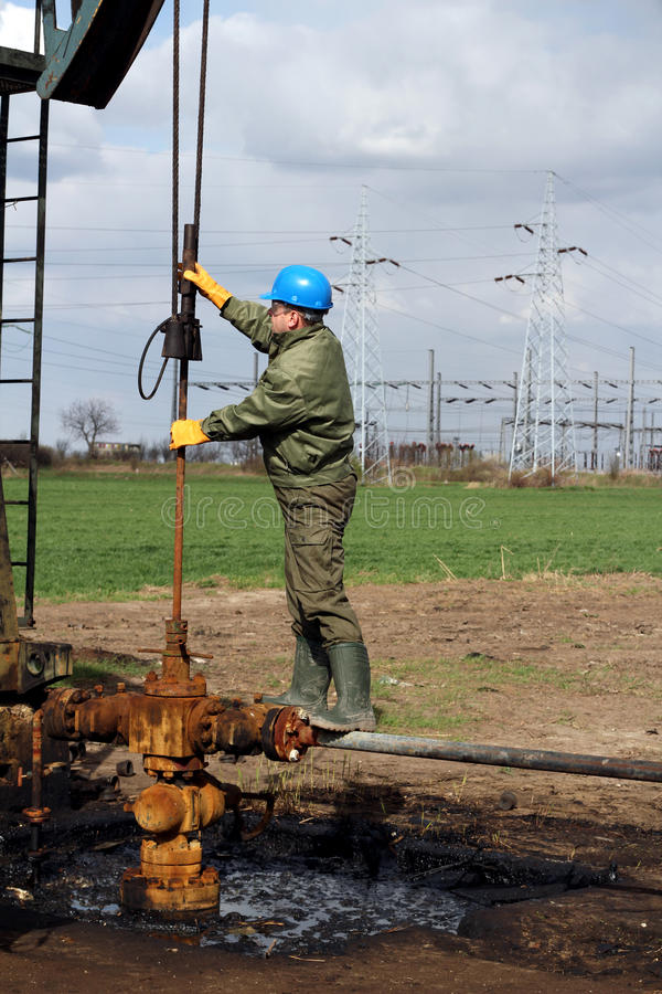 Oil worker stock image