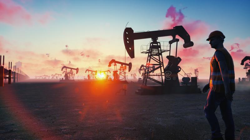 Oil worker inspects oil pumps at sunrise on the background of cloudless beautiful sky. 3D Rendering. Oil worker inspects oil pumps at sunrise on the background stock illustration