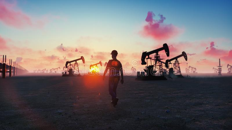 Oil worker inspects oil pumps at sunrise on the background of cloudless beautiful sky. 3D Rendering. Oil worker inspects oil pumps at sunrise on the background royalty free illustration