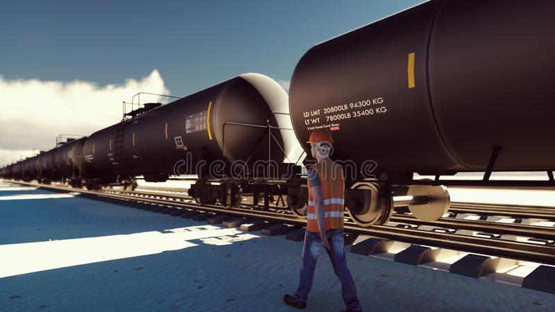 Oil worker walks past the railway with Rail tank cars driving on it. 3D Rendering royalty free illustration
