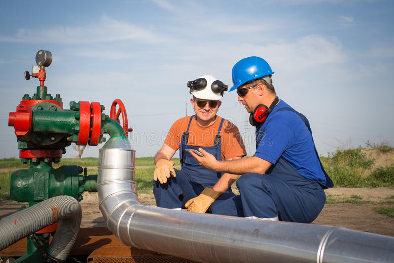 Oil workers stock photos