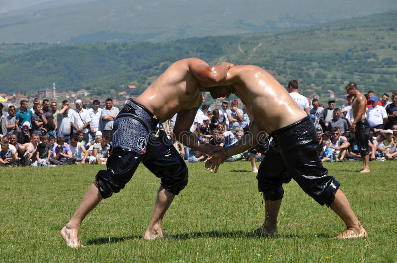 Oil wrestling. The pehlivans' (traditional oil wrestling) and horseback riding tournaments, as well as the traditional fair of Dragash Municipality stock photos