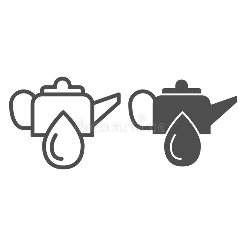 Oiler can line and glyph icon. Oiling can vector illustration isolated on white. Motor oil outline style design stock illustration