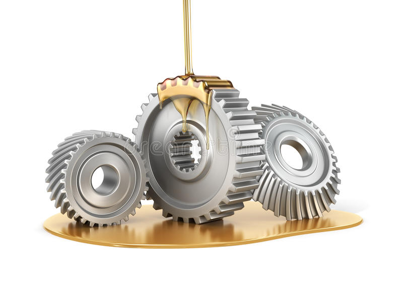 Oiling Gears. Oiling Gears isolated on a white background . 3d illustration stock illustration