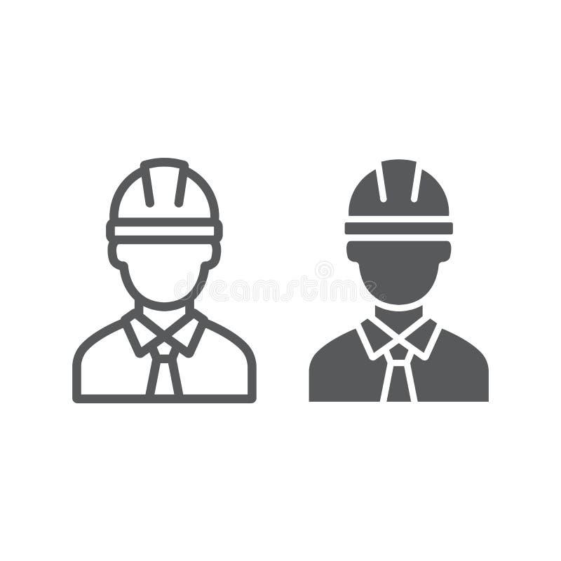 Oilman linia, glif ikona i mężczyzna, industy, pracownika znak, wektorowe grafika, liniowy wzór na białym tle royalty ilustracja
