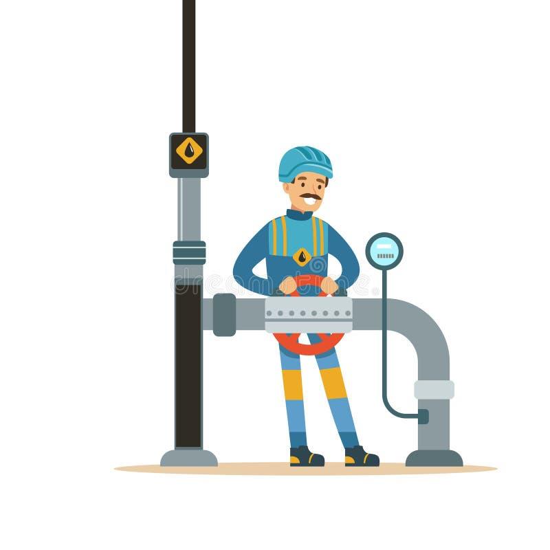 Oilman pracownik kontroluje wymierniki, transport olej i benzyna wektoru ilustrację na rurociąg naftowym, royalty ilustracja