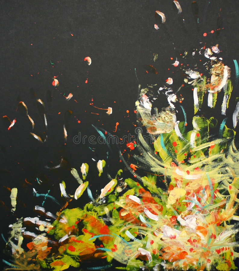 Oilpainting - explosion of mainly yellow and white stock illustration