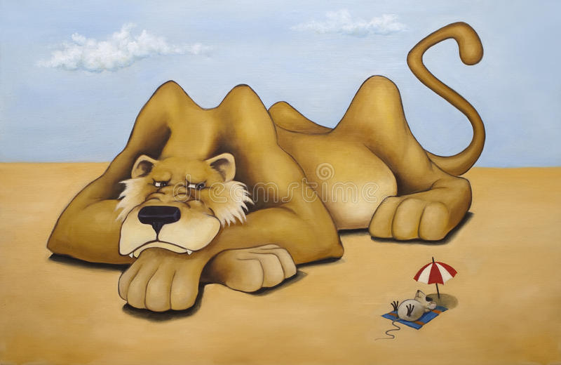 Oilpainting - leone e mouse fotografie stock