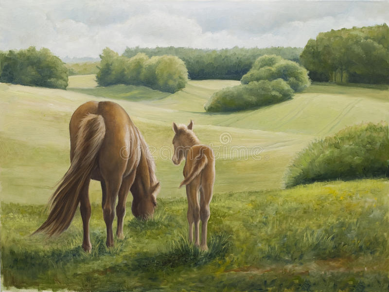 Oilpainting - Mare and Foal stock photo