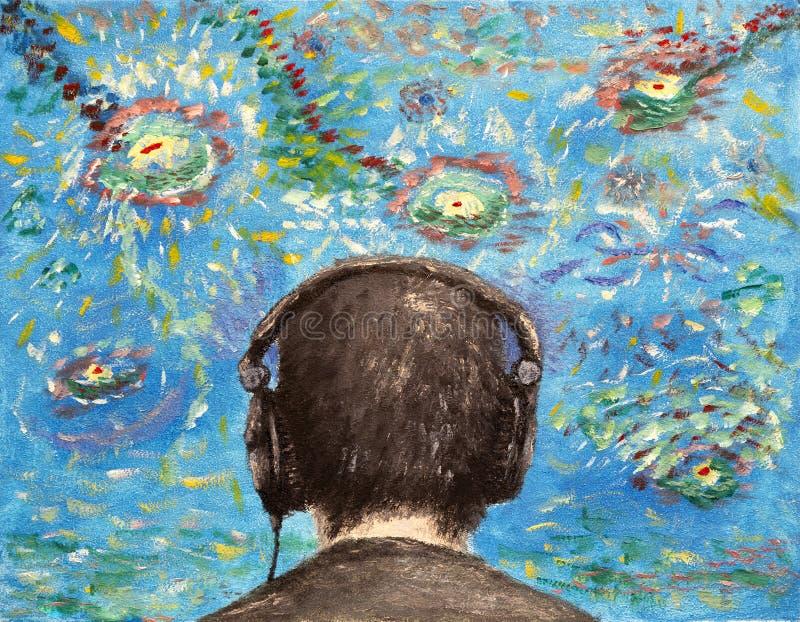 Oilpainting - słuchający muzyka obraz royalty free