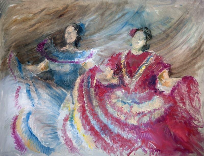 oilpainting spanjor för dansare royaltyfri illustrationer