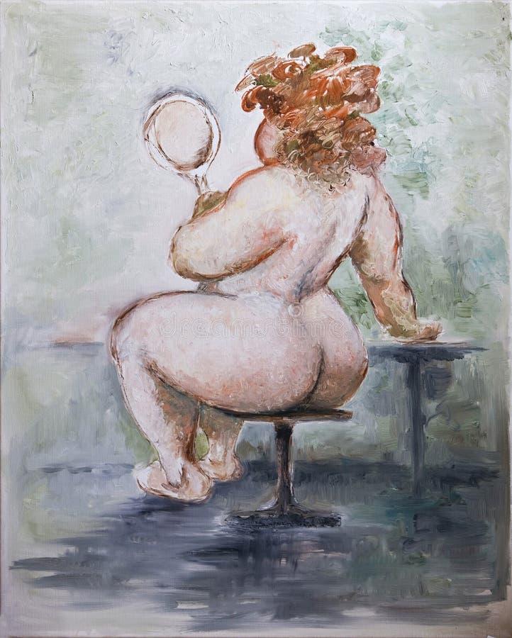 Oilpainting - Zwaarlijvige Vrouw royalty-vrije illustratie