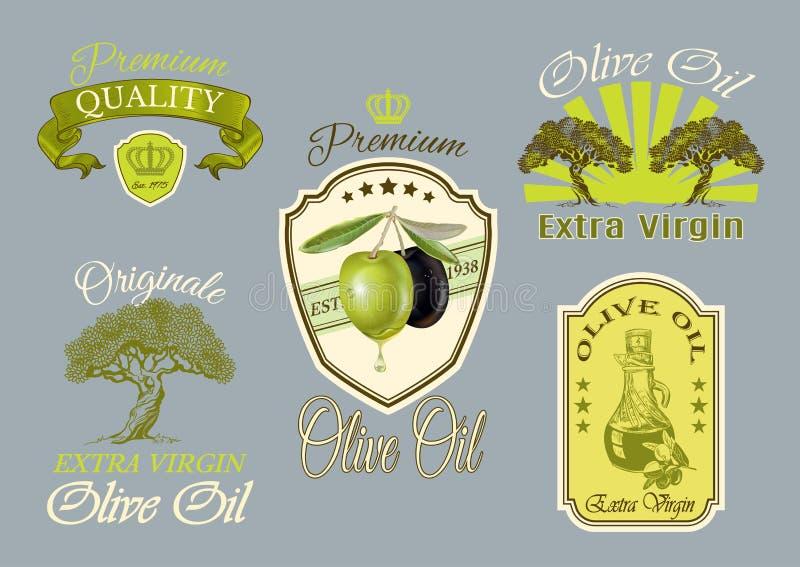 Oilve-Öl-Kennsatzfamilie lizenzfreie abbildung